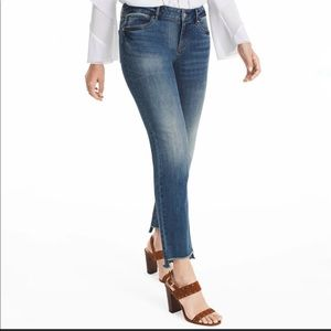 WHBM The Straight Cropped Raw Hemmed Jeans